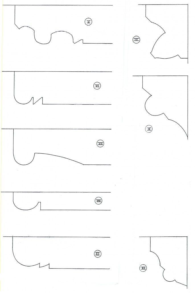 afb. | profileringen van sleutelstukken en kraagstenen: V van de sleutelstukken van de zolderbalklaag in het voorhuis, IX en X van kraagstenen onder deze balken. VI van het sleutelstuk onder de derde moerbalk van de verdiepingsbalklaag in het voorhuis: VII van de sleutelstukken onder de voorste twee moerbalken van die balklaag. VII van de sleutelstukken onder de v.m. moerbalken uit het achterhuis. XII en XI resp. van de sleutelstukken en kraagstenen onder de moerbalken in het pakhuis.
