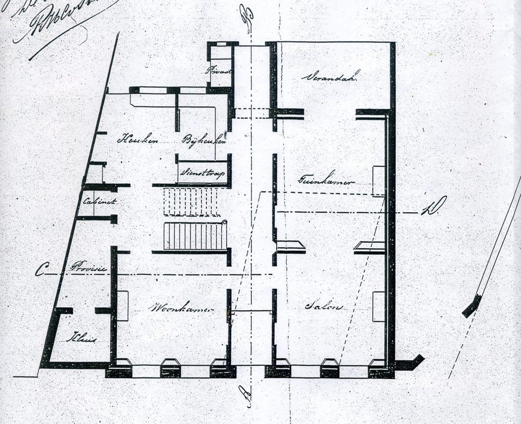 De ontwerptekening van de begane grond uit 1890.