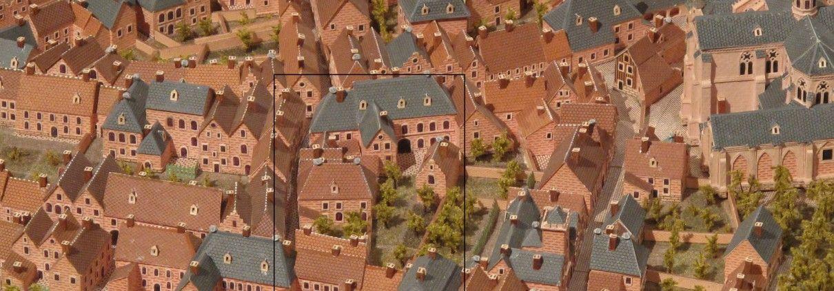 afb. 1 detail perceel Hoogstraat 15 van de kopie van de maquette uit 1750.